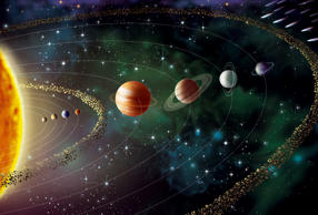 Illustration of the solar system, including its eight planets and the sun: Mercury, Venus, the Earth, Mars, asteroide belt, Jupiter, Saturn, Uranus, Neptune and at its outer limits the Kuiper Belt and the Oort Cloud.