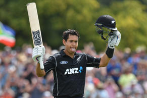 Ross Taylor of New Zealand celebrates his century.