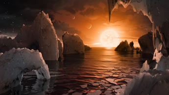 This illustration shows the possible surface of TRAPPIST-1f, one of the newly di...