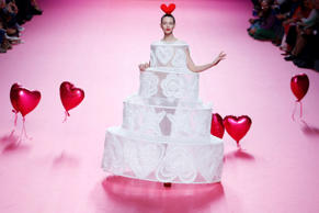 A model displays a 2017-18 Fall/Winter creation by Spanish designer Agatha Ruiz de la Prada during the Madrid's Fashion Week in Madrid, Friday, Feb. 17, 2017. (AP Photo/Francisco Seco)