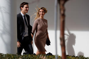 Ivanka Trump, right, walks with her husband Jared Kushner, senior adviser to the president, to a news conference with President Donald Trump and Japanese Prime Minister Shinzo Abe, Friday, Feb. 10, 2017, at the White House in Washington. (AP Photo/Evan V