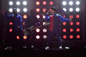Bruno Mars performs on stage at The BRIT Awards 2017 at The O2 Arena on February 22, 2017 in London, England.