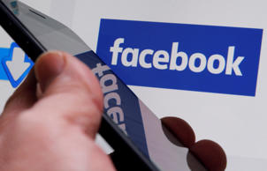 The Facebook logo is displayed on their website in an illustration photo taken in Bordeaux.
