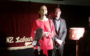 Jacinda Ardern speaking after she won the Mt Albert by-election with Labour Party leader Andrew Little