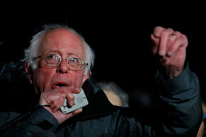 Sen. Bernie Sanders (I-VT) speaks during a rally against President Donald Trump'...