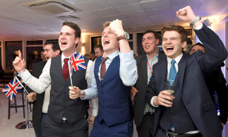 Leave supporters cheer results at a Leave.eu party after polling stations closed in the EU referendum on 23 June 2016