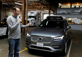 In this Dec. 13, 2016, file photo, Anthony Levandowski, head of Uber's self-driving program, speaks about their driverless car in San Francisco.