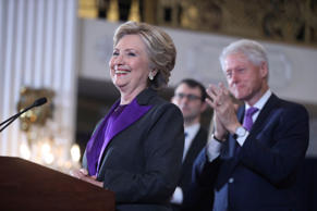 In this Nov. 9, 2016, file photo, former President Bill Clinton applauds as his wife, Democratic presidential candidate Hillary Clinton speaks in New York.