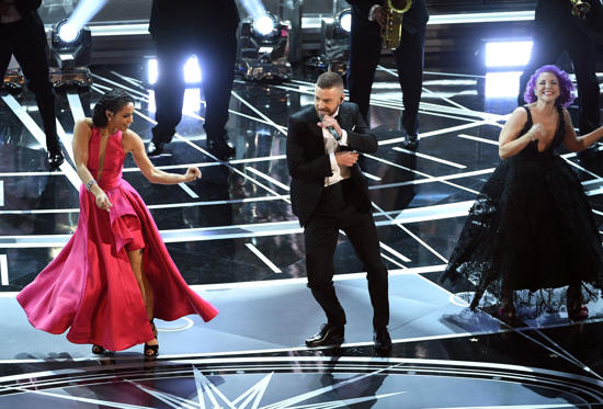 Slide 2 of 33: HOLLYWOOD, CA - FEBRUARY 26: Singer/actor Justin Timberlake (C) performs onstage during the 89th Annual Academy Awards at Hollywood & Highland Center on February 26, 2017 in Hollywood, California. (Photo by Kevin Winter/Getty Images)