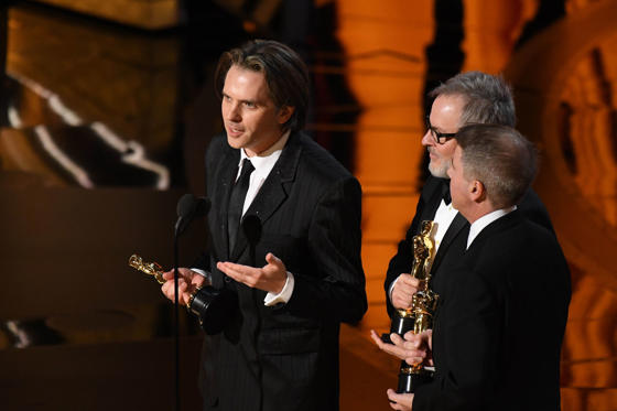 Slide 15 of 33: Feb 26, 2017; Hollywood, CA, USA; (L-R) Byron Howard, Rich Moore and Clark Spencer accept the Oscar for best animated feature film for 'Zootopia' during the 89th Academy Awards at Dolby Theatre. Mandatory Credit: Robert Deutsch-USA TODAY NETWORK