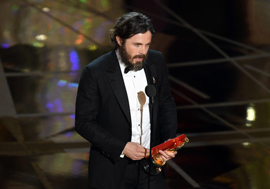Slide 29 of 33: HOLLYWOOD, CA - FEBRUARY 26: Actor Casey Affleck accepts Best Actor for 'Manchester by the Sea' onstage during the 89th Annual Academy Awards at Hollywood & Highland Center on February 26, 2017 in Hollywood, California. (Photo by Kevin Winter/Getty Images)