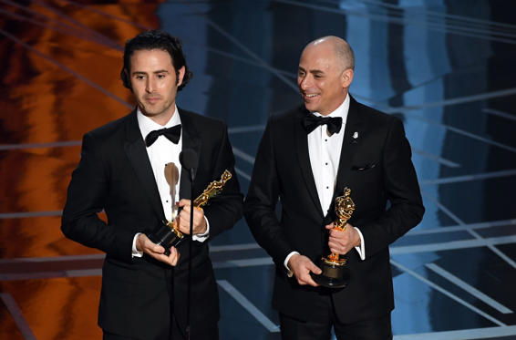 Slide 14 of 33: HOLLYWOOD, CA - FEBRUARY 26: Director Alan Barillaro (L) and producer Marc Sondheimer accept Best Animated Short Film for 'Piper' onstage during the 89th Annual Academy Awards at Hollywood & Highland Center on February 26, 2017 in Hollywood, California. (Photo by Kevin Winter/Getty Images)