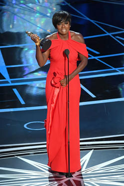 Slide 11 of 33: HOLLYWOOD, CA - FEBRUARY 26: Actor Viola Davis accepts Best Supporting Actress for 'Fences' onstage during the 89th Annual Academy Awards at Hollywood & Highland Center on February 26, 2017 in Hollywood, California. (Photo by Kevin Winter/Getty Images)