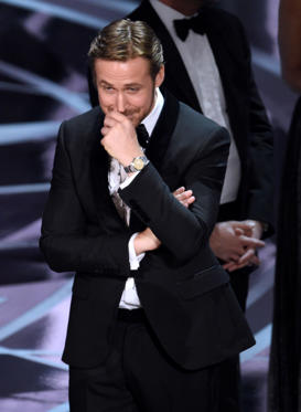 "Slide 32 of 33: Ryan Gosling reacts as the true winner of best picture is announced at the Oscars on Sunday, Feb. 26, 2017, at the Dolby Theatre in Los Angeles. It was originally announced that ""La La Land"" won, but the winner was actually, ""Moonlight."" (Photo by Chris Pizzello/Invision/AP)"
