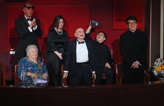 Slide 10 of 33: 89th Academy Awards - Oscars Awards Show - Hollywood, California, U.S. - 26/02/17 - Governors Awards recipients Jackie Chan, Anne V. Coates and Lynn Stalmaster. REUTERS/Lucy Nicholson