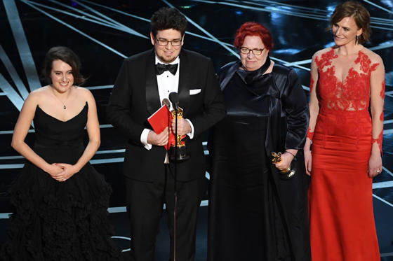 Slide 22 of 33: HOLLYWOOD, CA - FEBRUARY 26: Director Kristof Deak (at microphone) and producer Anna Udvardy (2nd R) accept Best Live Action Short Film for 'Sing' onstage during the 89th Annual Academy Awards at Hollywood & Highland Center on February 26, 2017 in Hollywood, California. (Photo by Kevin Winter/Getty Images)
