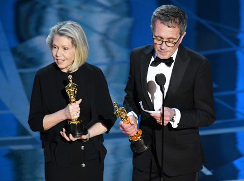 Slide 16 of 33: HOLLYWOOD, CA - FEBRUARY 26: Art director Sandy Reynolds-Wasco (L) and production designer David Wasco accept Best Production Design for 'La La Land' onstage during the 89th Annual Academy Awards at Hollywood & Highland Center on February 26, 2017 in Hollywood, California. (Photo by Kevin Winter/Getty Images)