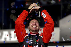 Feb 26, 2017; Daytona Beach, FL, USA; NASCAR Cup Series driver Kurt Busch (41) celebrates winning the 2017 Daytona 500 at Daytona International Speedway.