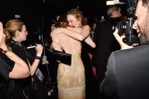89th Annual Academy Awards, Backstage, Los Angeles, USA - 26 Feb 2017 Emma Stone and Brie Larson