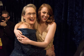 THE OSCARS(r) - The 89th Oscars(r)  broadcasts live on Oscar(r) SUNDAY, FEBRUARY 26, 2017, on the ABC Television Network. (Adam Rose/ABC via Getty Images) MERYL STREEP, EMMA STONE