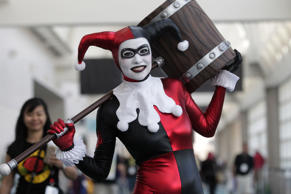 "VIsitor dressed as Harley Quinn from the ""Suicide Squad."""