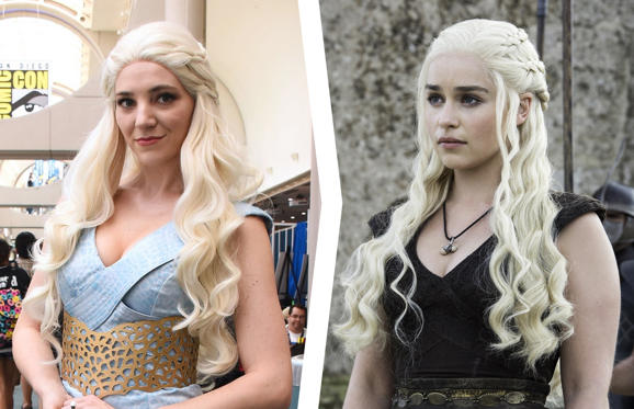 Slide 1 of 42: A costumed cosplayer attends Comic-Con International on July 20, 2017 in San Diego, California; Emilia Clarke as Daenerys