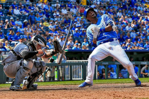 Lorenzo Cain #6 of the Kansas City Royals reacts after being hit by the ball in the ninth inning against the Chicago White Sox at Kauffman Stadium on July 23, 2017 in Kansas City, Missouri.