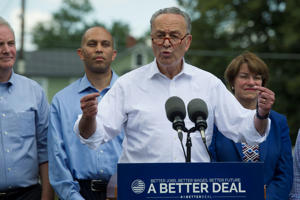 Senate Minority Leader Chuck Schumer of N.Y., accompanied by Congressional Democrats, speaks in Berryville, Va., Monday, July 24, 2017, to unveil their new agenda. From left are, Sen. Chris Van Hollen, D-Md., Rep. Hakeem Jeffries, D-N.Y., Schumer, and Sen. Amy Klobuchar, D-Minn.