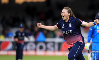England's Anya Shrubsole celebrates the wicket of India's Rajeshwari Gayakwad during the ICC Women's World Cup Final at Lord's, London. (Photo by John Walton/PA Images via Getty Images)