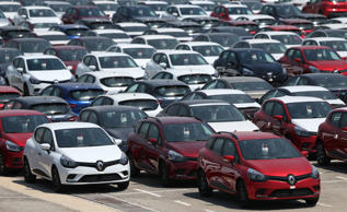 Various Renault cars are seen at a car park in Bursa, Turkey on July 24, 2017