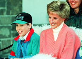 File photo dated 27/3/1994 of Prince William with his mother, Diana, Princess of...