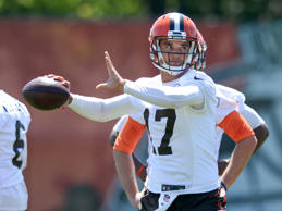 Quarterback Brock Osweiler #17 of the Cleveland Browns throws a pass during an OTA practice on May 31, 2017 at the Cleveland Browns training facility in Berea, Ohio.