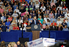President Donald Trump speaks during a rally at the Covelli Centre, Tuesday, Jul...