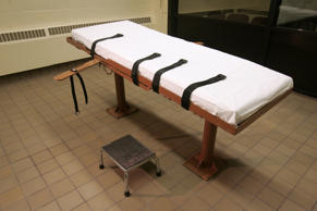 "FILE - This November 2005 file photo shows the death chamber at the Southern Ohio Correctional Facility in Lucasville, Ohio. As Ohio sought to justify its reasoning for shielding the names of people or companies providing lethal drugs to the prison system, it paid a security consultant who determined that identifying the suppliers would put them at risk of ""harm, violence or unlawful acts of intimidation,"" according to newly released documents."