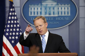 Sean Spicer points to a reporter during the daily news briefing at the White House in Washington, D.C., on June 26, 2017.