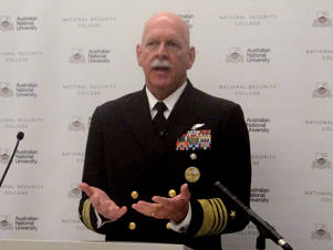 U.S. Pacific Fleet Commander Adm. Scott Swift addresses an Australian National University security conference in Canberra, Australia Thursday, July 27, 2017. Swifts said he would launch a nuclear strike against China next week if U.S. President Donald Trump ordered it and warned against the military ever shifting its allegiance from its commander in chief. (AP Photo/Rod McGuirk): U.S. Pacific Fleet Commander Adm. Scott Swift addresses an Australian National University security conference in Canberra on Thursday.