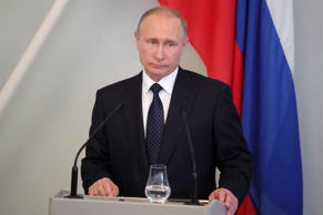 Russian President Vladimir Putin is shown at a press conference after his meeting with Finland's President Sauli Niinisto in Savonlinna, Eastern Finland, on Thursday.