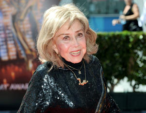 June Foray arrives at the Primetime Creative Arts Emmy Awards at the then Nokia Theatre L.A. Live, in Los Angeles.