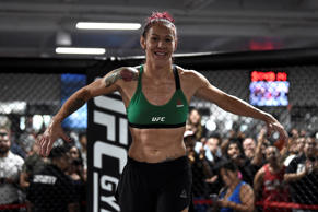 Cris Cyborg of Brazil holds an open workout session for fans and media at UFC GY...