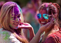 Foreign tourists celebrate Holi in Delhi