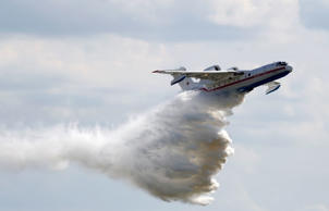 A Beriev Be-200 Altair amphibious aircraft performs during a demonstration flight at the MAKS 2017 air show in Zhukovsky, outside Moscow, Russia, July 18, 2017.