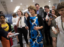 Sen. Lisa Murkowski, R-Alaska, heads to the chamber for a vote, on Capitol Hill ...