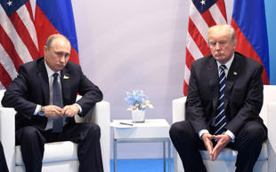 US President Donald Trump and Russia's President Vladimir Putin hold a meeting on the sidelines of the G20 Summit in Hamburg, Germany, on July 7.