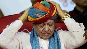 Leader of opposition in Gujarat assembly Shankarsinh Vaghela at a public meeting of his supporters on his 77th birthday, where he announced he was expelled from the Congress, in Gandhinagar on Friday. (PTI)