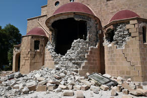 This pictures taken on July 21, 2017 shows an exterior view of the quake-damaged Church of Saint Nicholas on the Greek Island of Kos following a 6.5 magnitude earthquake which struck the region.