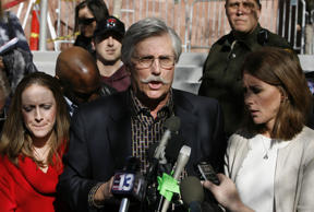 Fred Goldman, center, father of Ron Goldman, speaks to reporters after O.J. Simpson's sentencing as Lauren Luebker, left, and Kim Goldman, right, Ron Goldman's sister, listen at the Clark County Regional Justice Center December 5, 2008 in Las Vegas, Nevada.
