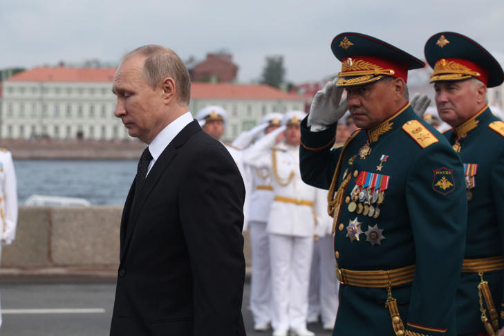 Russian President Vladimir Putin attends parade on Russia's Navy Day the Main Naval Parade to mark Russian Navy Day in St. Petersburg, Russia, on 30 July 2017.