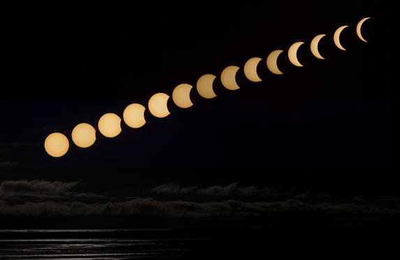 Slide 1 of 30: HÖFN, ICELAND - MARCH 20: A composite image of the first half of the solar eclipse where sun is visible just over the horizon on march 20, 2015 in Höfn, South Iceland. PHOTOGRAPH BY Pall Jokull / Barcroft Media (Photo credit should read Pall Jokull / Barcroft Media via Getty Images)