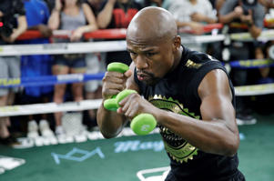 Floyd Mayweather Jr. trains at his gym.