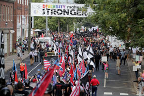 Hundreds of white nationalists, neo-Nazis and members of the alt-right march down East Market Street toward Lee Park during the Unite the Right rally on Aug. 12 in Charlottesville, Virginia.